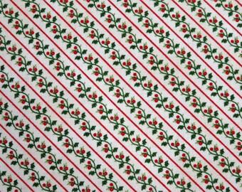 Holly Stripe Yuletide Memories Cream Windham Fabrics #5712 By the Yard