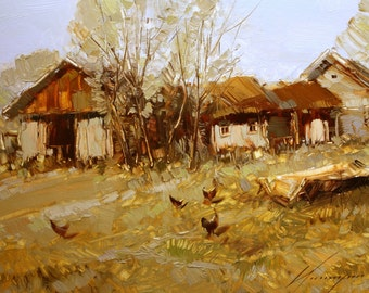 Village Landscape oil painting One of a kind Signed Impressionism