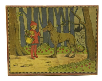 Vintage Red Riding Hood Wooden Blocks Cube Puzzle. 1930s Building Blocks Toy. Gift for Kids Room Decor.