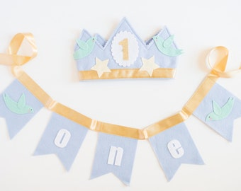 PARTY PACK Crown & Bunting // Smash Cake // Photo Prop // Baby Boy Birthday // Bird Crown // Birthday Crown