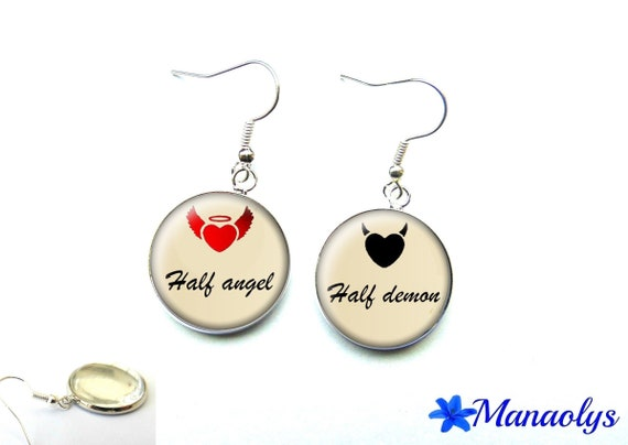 Half angel, half demon 1256 glass cabochons earrings