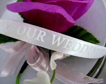 Wedding Satin Ribbon with White OUR WEDDING Wording for Wedding Ribbon, 3/8 inch, 50 yards