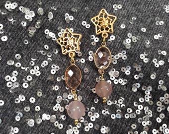 Stars & Quartz, dangling earrings.