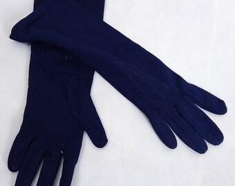 Original Vintage Navy Nylon Lined Gloves Size 6.5