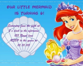 Disney The Little Mermaid Ariel Birthday Invitation Digital Download 4x6 and 5x7