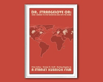 Film poster retro print Dr. Strangelove or: How I Learned to Stop Worrying and Love the Bomb in various sizes