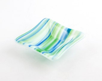 Glass Ring Dish, Jewelry Holder, Fused Glass, Blue and Green, Bath Accessories, Spindle Bowl, Trinket Tray, Tea Bag Rest, Gifts for Women