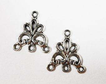 Silver Chandelier Earring Findings 18x16mm Antique Silver Earring Connectors, 3 to 1 Connector Findings, DIY Jewelry Findings, 6pcs
