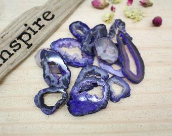 Dark Purple Geode Slice - Agate Druzy Slice - Jewelry Supplies - Hippie Style (RK84B6)