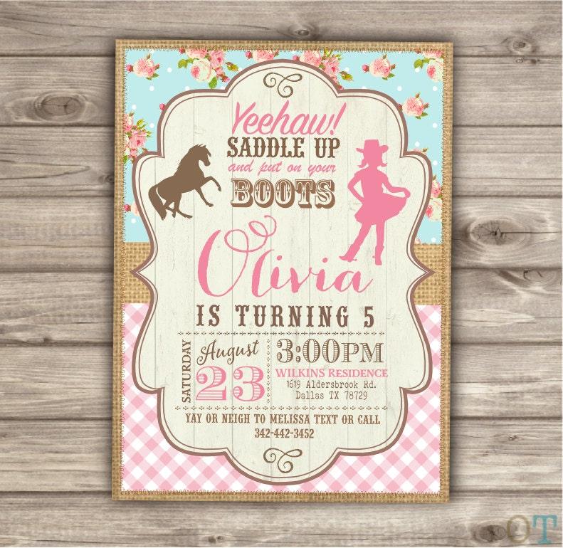 Horse Cowgirl Invitation Template Birthday Rustic Printable