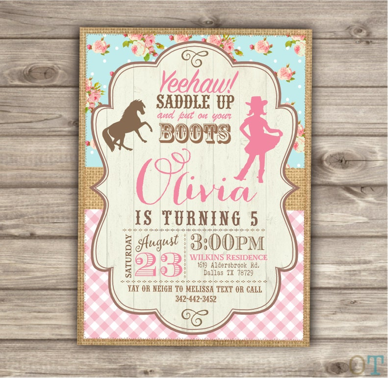 Horse Cowgirl Invitation Template Birthday Rustic Printable