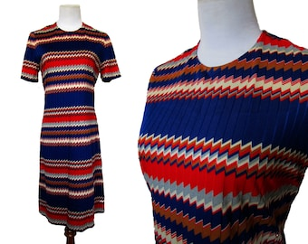 Vintage 60s Dress // Vintage Mod Dress // Zig Zag Dress // Vintage Shift Dress //  Medium
