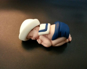 Fondant sailor baby boy cake topper
