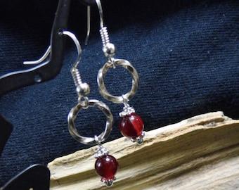 Red Agate Silver Dangle Earrings