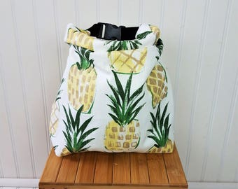 Pineapple Bag - Lunch Bag - Lunch Bag for Women - Lunch Bag Insulated - Lunch Bag Tote - Roll Top Lunch Bag