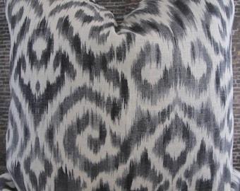 3BM Designer Pillow Cover Lumbar, 16 x 16, 18 x 18, 20 x 20, 22 x 22, Euro - Ikat Damask Pewter