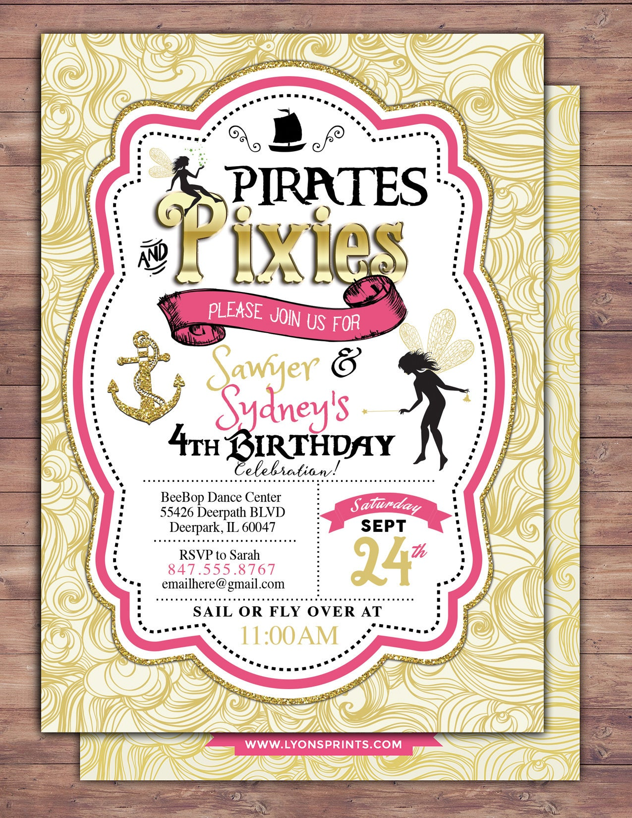 Pirates and Pixie, Party Invitations, Pirate, Princess, Pixie ...