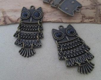4pcs  Antique Bronze owl pendant Charms 20mmx51mm