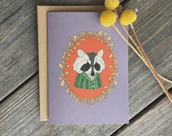 Cute Raccoon Card, Woodland Creatures, Raccoon With Sweater, Raccoon Card