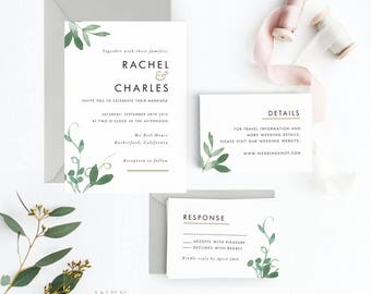 Modern Botanical Wedding Invitation Suite, Wedding Invitation Printable, Invitation Set, Invitation Rustic, Letter or A4 (Item code: P127)