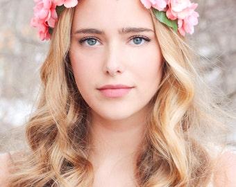 peachy floral hair crown, woodland flower crown, bridal head wreath, woodland headpiece, boho wedding