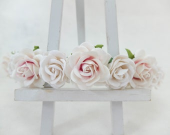 White pink rose crown - floral hair wreath - flower headpiece - flower hair accessories