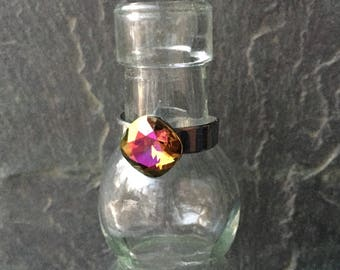 Adjustable Swarovski Crystal Mahogany 10mm Rivoli Ring