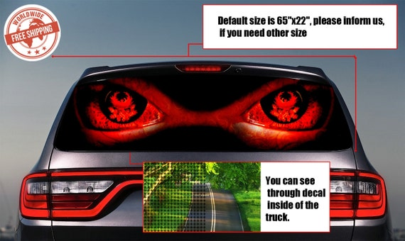 019 devil eyes rear window tint perforated decals stickers
