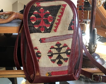 Vintage Burgundy Leather and Aztec Weave Backpack