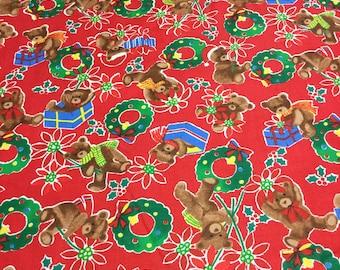 Teddy Bear Christmas Fabric - BTY - ADORABLE!