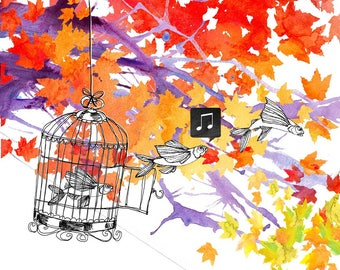 Art print, watercolor illustration, Flying fishes with bird cage in an autumn tree