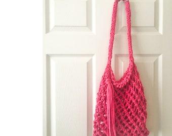 Market bag - knit fisherman bag - hand knit bag - hot pink market bag - hand knit - free shipping