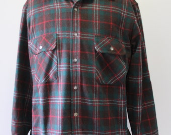 Vintage Men's Lord & Taylor Button-Up Plaid Wool Shirt Size Large 1980s
