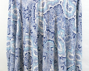 Blue and White Print Top by Mumu. Fall blouse, fall top, paisley print top, roomy top, soft top, comfortable top, pretty top