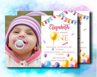 Baloons First Birthday Invitation Watercolor Baloons Invitation   Colorful Baloons First Birthday Invitation