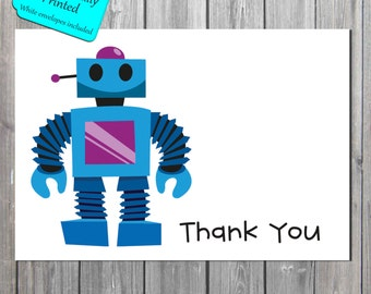 Personalized Robot Thank You Card, kids Stationery, Kid Note Cards, Blue robot cards PROFESSIONALLY PRINTED