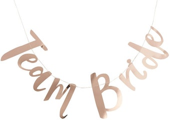 Team Bride Banner, Rose Gold Paper Banner, Bridal Shower Bunting, Wedding Banner, Bachelorette Banner Team Bride Script Bachelorette