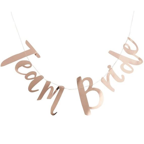Team Bride Banner, Rose Gold Paper Banner, Bridal Shower Bunting, Wedding Banner, Bachelorette Banner Team Bride Script Bachelorette