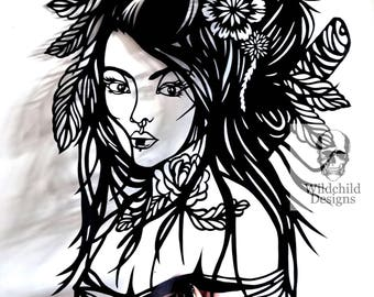 Onna Samurai Warrior Paper Cutting Template, Personal Use, Vinyl Template, SVG, JPEG, Geisha Template,  Japanese Template, Warrior Template