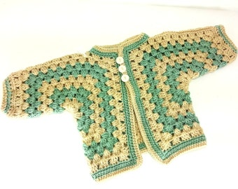 SOFT! Baby Sweater, Boy or Girl Green and Tan  Size 3 to 6 Months Crochet