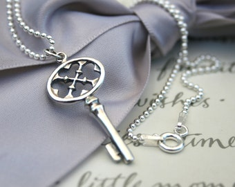 Sterling Silver Key Necklace 16 or 18 inch Sterling chain included