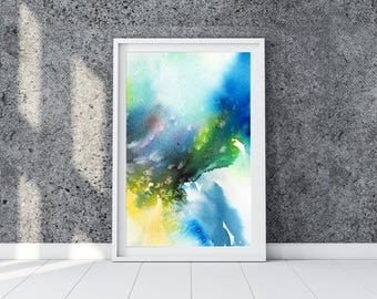 Abstract painting. Abstract Art. Blue, green and yellow waves. Watercolor colorful print. Instant download giclee print.  Living Room Decor.