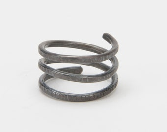 Time Travel - Sterling Silver Oxidized Wire Ring with Texture - Size 8 - 8.5 Adjustable