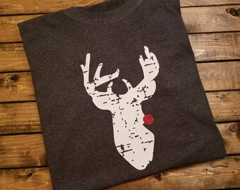 Distressed Reindeer Christmas Shirt