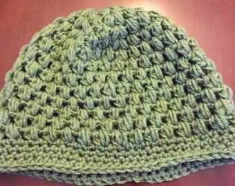 Crocheted Puff Stitch Beanie