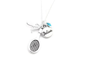 Tennis Necklace, Tennis Gifts, Tennis Jewelry, Gifts for Tennis, Tennis Player, Tennis Team Gift