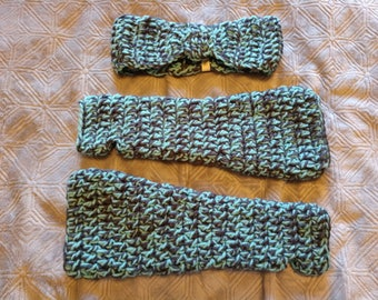 Turquoise and Grey, Ear and Arm Warmer Set