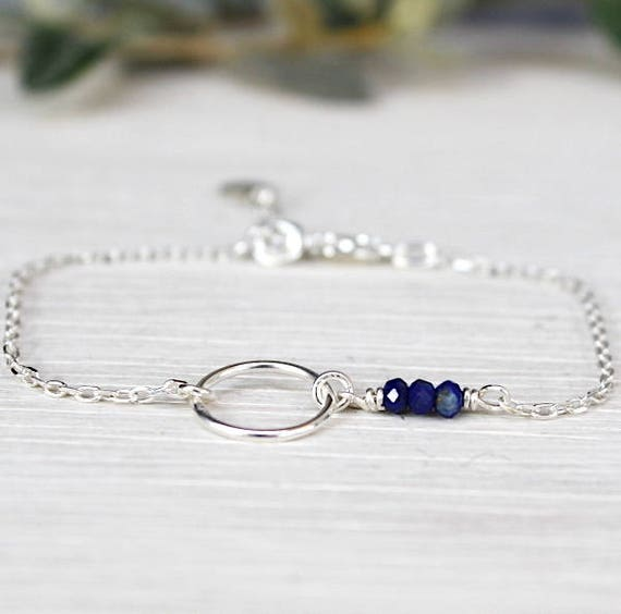 Bracelet 925 Silver ring and gems lapis lazuli on chain