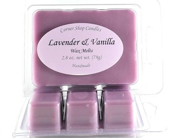 Lavender and Vanilla Scented Wax Melts. 6 cube pack. Wickless candle wax