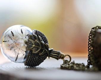 Dandelion wish necklace, acorn necklace, lucky charm, plant necklace , make a wish, wish necklace , acorn locket , gift from Ireland #C11